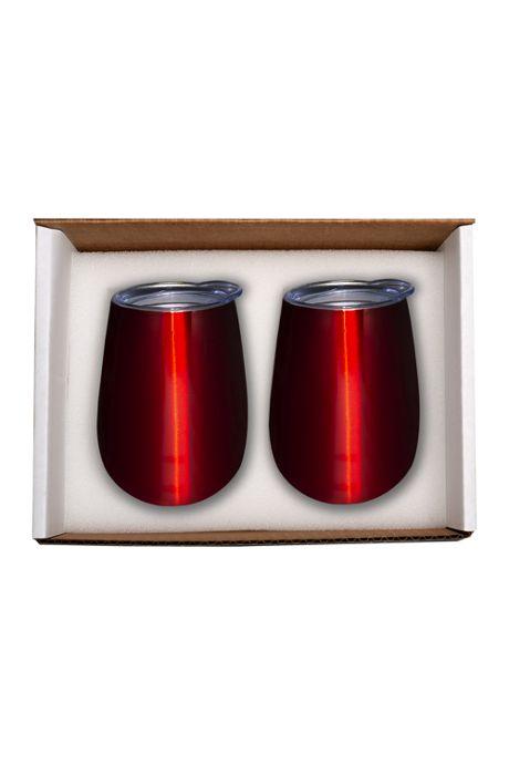10oz Custom Logo Insulated Stemless Wine Tumbler 2 Pack Set