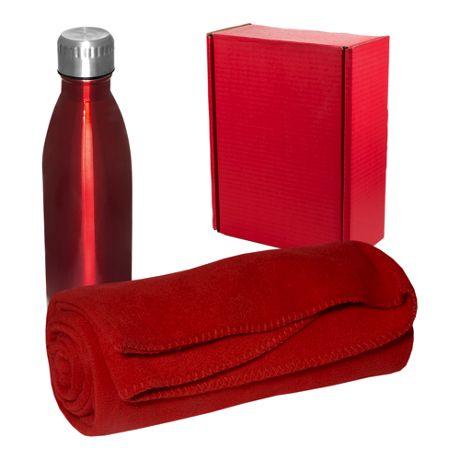 17oz Custom Logo Water Bottle and Embroidered Fleece Blanket Set