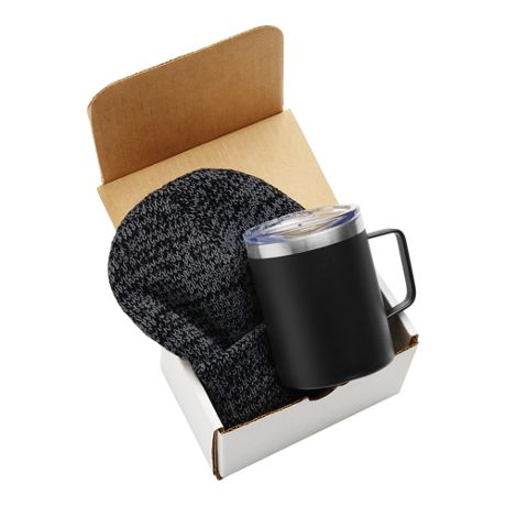 Custom Logo 12oz Insulated Coffee Mug and Knit Beanie Gift Set