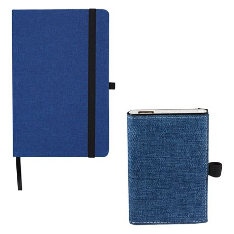 Custom Logo Canvas Journal with Portable Charger and Pen Set