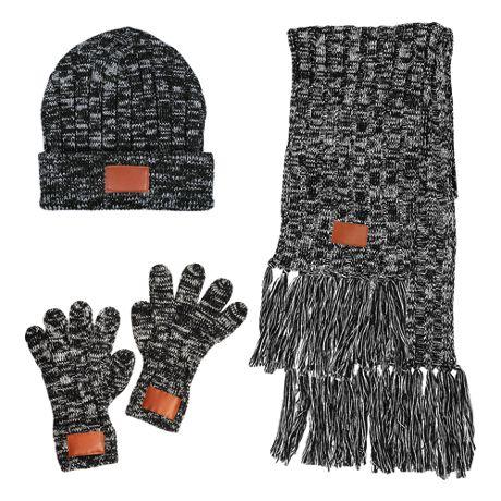 LEEMAN 3 Piece Custom Logo Knit Scarf Hat and Gloves Set