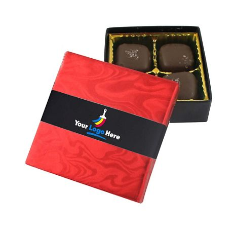 Sea Salt Caramels with Custom Logo Gift Box - 4 Pieces