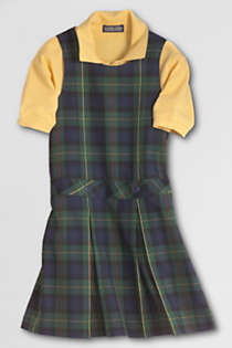 Girls Uniform Plaid Jumper   , Front