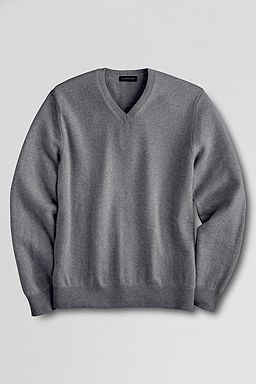 Cashmere V-neck Sweater: Charcoal Heather