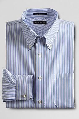 Buttondown Pattern No Iron Pinpoint Dress Shirt: True Blue Stripe