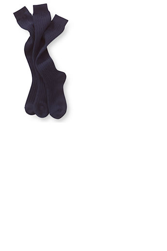 Girls' Solid Cable Knee Socks (3-pack) - Classic Navy, L